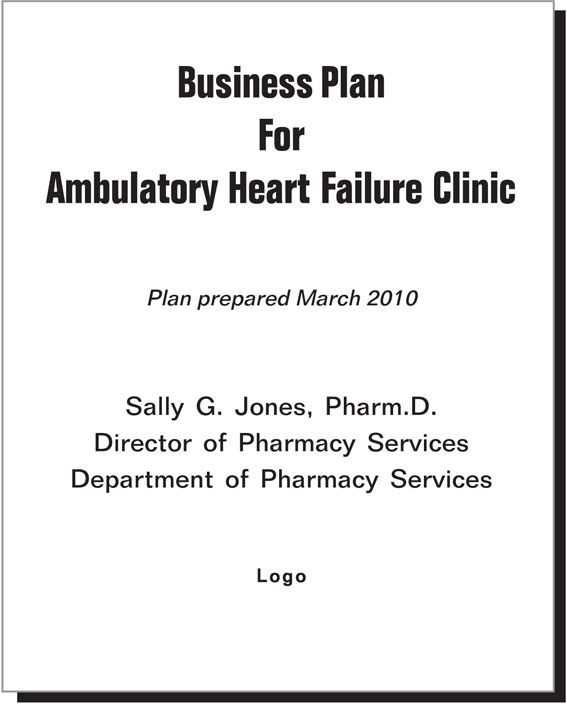 business plan title page example