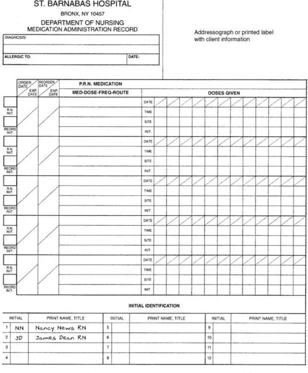 Medication Administration Records And Drug Distribution